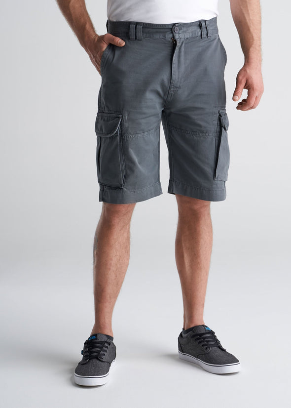 American_Tall_Mens_LongJohn_Cargo_Pocket_Shorts_Flint_grey-front-tucked