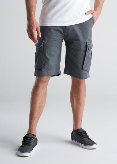 American_Tall_Mens_LongJohn_Cargo_Pocket_Shorts_Flint_grey-front