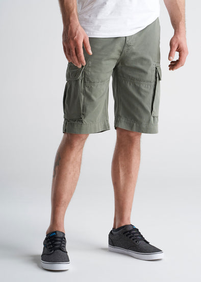 American_Tall_Mens_LongJohn_Cargo_Pocket_Shorts_Surplusgreen-front