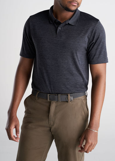 American_Tall_Mens_Performance_Golf_Polo_Inset_Sleeve_Charcoalmix-front
