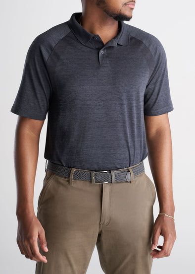 American_Tall_Mens_Performance_Golf_Polo_Raglan_Sleeve_Charcoalmix-TUCKED
