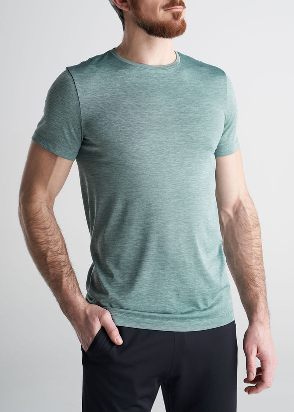 American_Tall_Mens_Performance_Tee_GreenMix-front