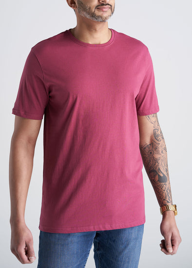 American_Tall_Mens_SS_Everyday_Cotton_Crewneck_Garnet_Red-front