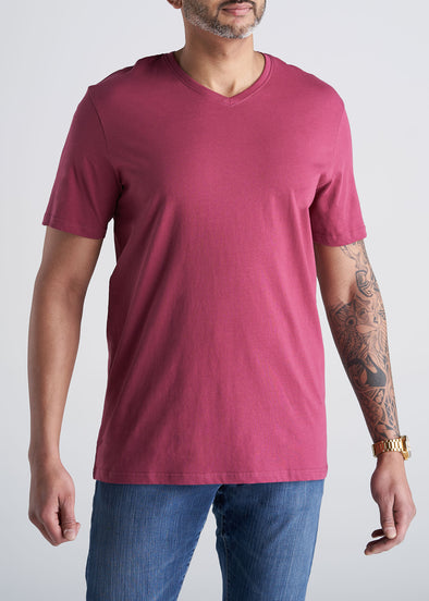 American_Tall_Mens_SS_Everyday_Cotton_Vneck_garnetred-front