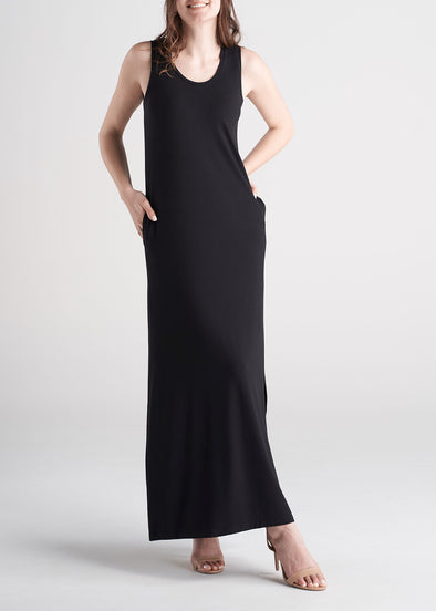 American_Tall_Women_Maxi_Dress_Black-front
