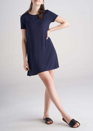American_Tall_Womens_Swing_Dress_Navy_Front