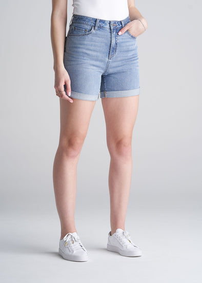 American_Tall_Womens_denim_shorts_Light_Blue-pocket-front