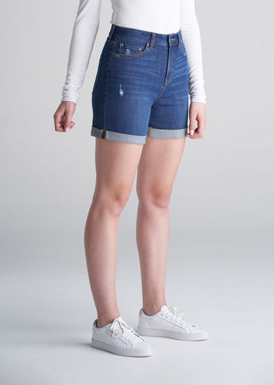 American_Tall_Womens_denim_shorts_medium_blue-front