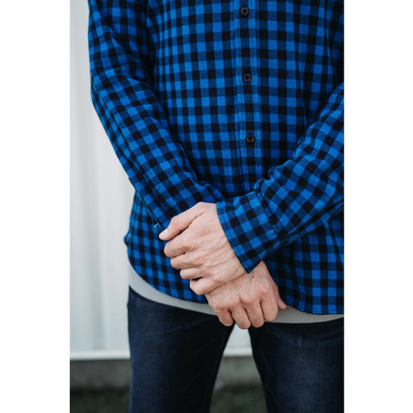 Nelson Button-Down Tall Men's Heavy Flannel Shirt in Blue Buffalo Check