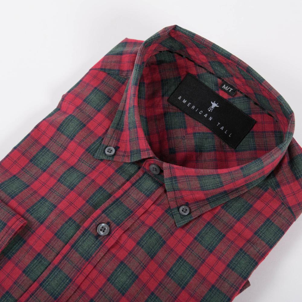 4fb8ce4e4591c Soft-Wash Tall Button Up Shirt in Bonfire Red Plaid