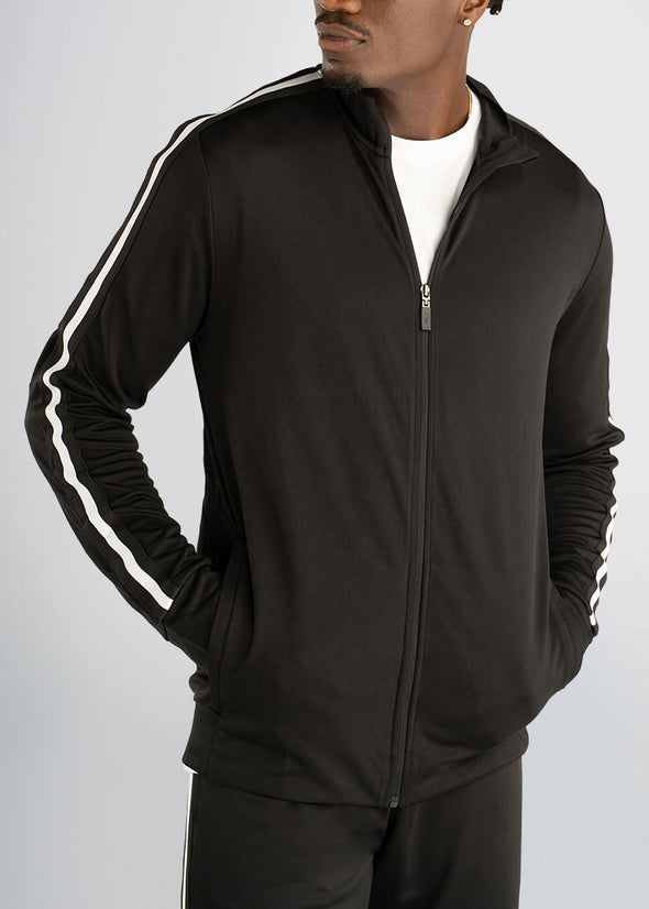 american-tall-athleticstripejacket-black-front-half-zipped