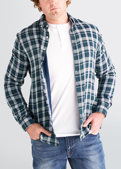 american-tall-mens-double-weave-forestgreen-whiteplaid-front