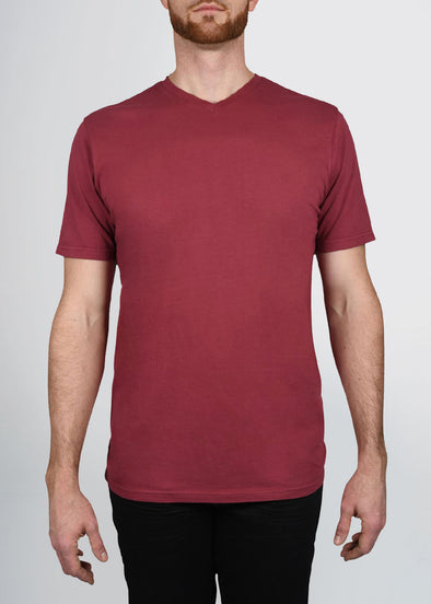 Garment Dyed REGULAR-FIT Tall V-Neck Tee (Pre-Shrunk) | Garnet Red