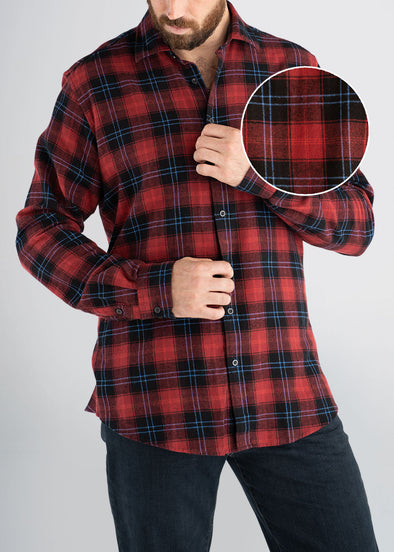 american-tall-mens-lightweightflannel-cranberryplaid-frontswatch