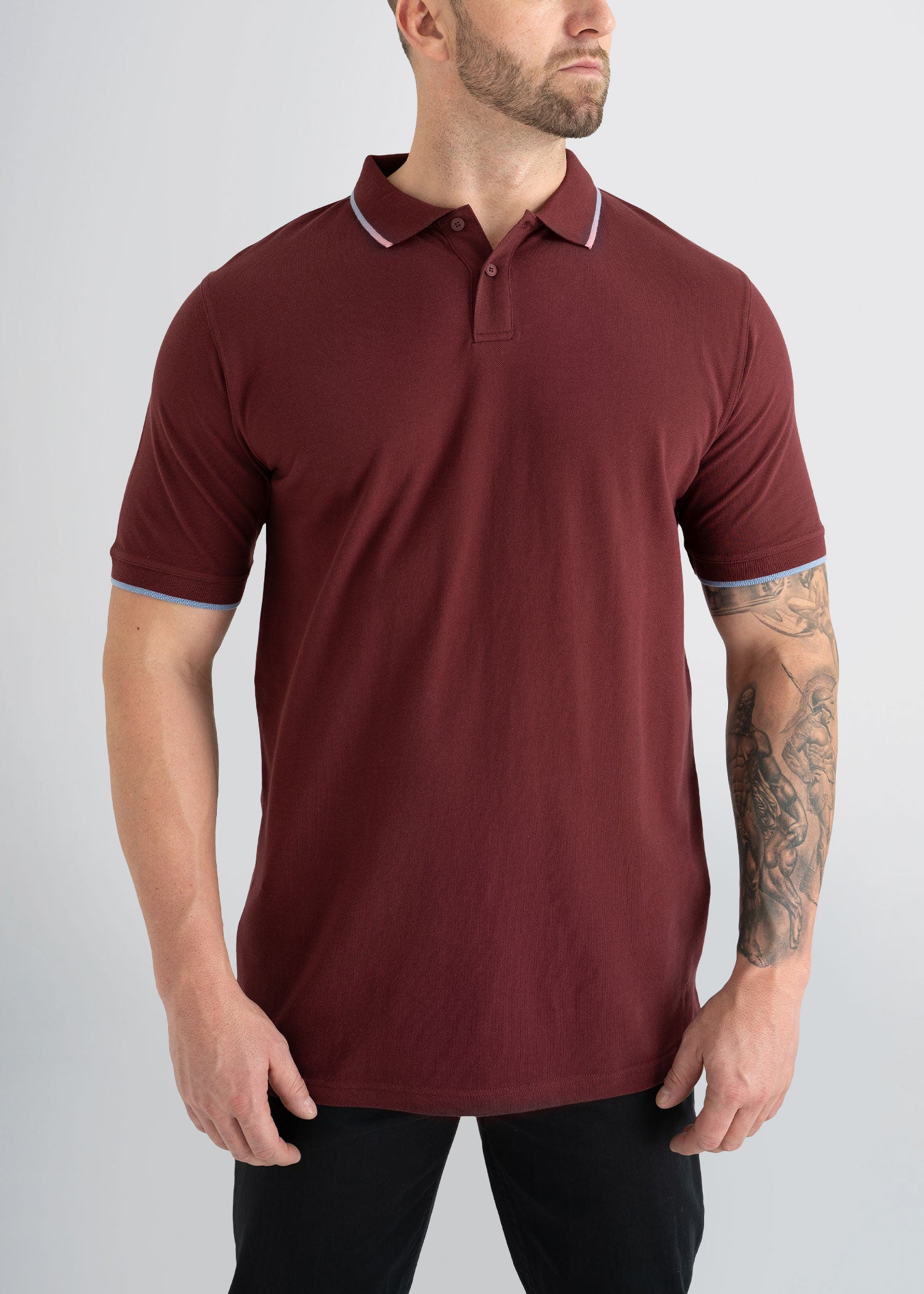 Tall Men's 100% Cotton Polos in Maroon & Blue   American Tall