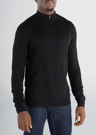 american-tall-mens-quarterzip-sweater-black-front