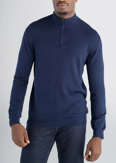 american-tall-mens-quarterzip-sweater-navy-front