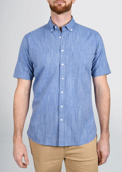american-tall-mens-shortsleeve-indigo-weave-front