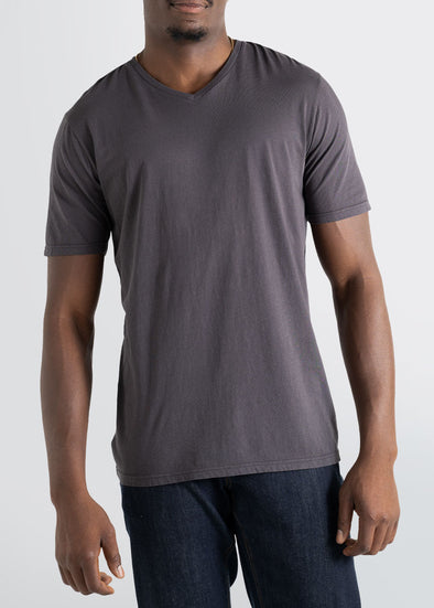 american-tall-mens-vneck-shortsleeve-charcoal-front
