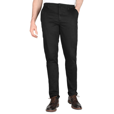 Carman TAPERED FIT Polished Chinos in Black