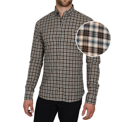 Soft-Wash Tall Button-Up Shirt in Espresso Mint Plaid