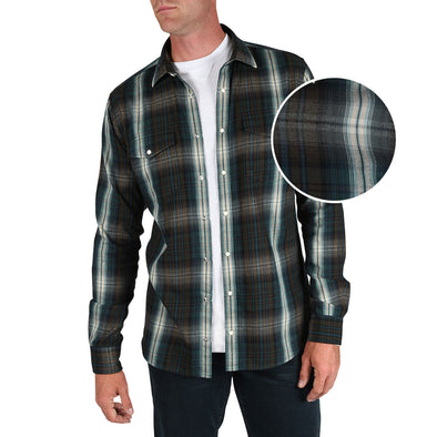 Nelson Double-Wash Tall Snap-Front Shirt in Teal Plaid