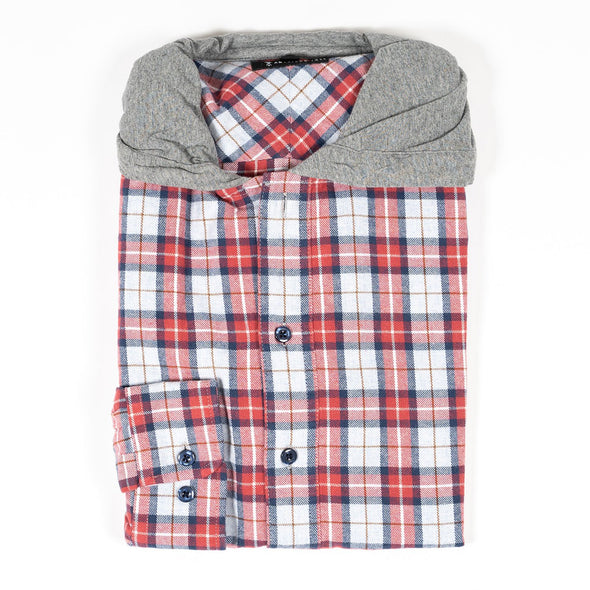 American-tall-red-hooded-flannel-shirt