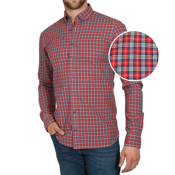 Soft-Wash Tall Button-Up Shirt in Pinwheel Plaid