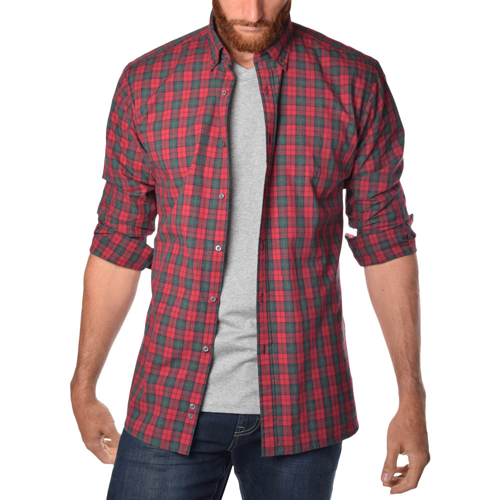cfe5d9b77c463 Soft-Wash Tall Button Up Shirt in Bonfire Red Plaid -