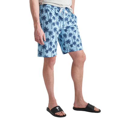 Tall Men's Swim Trunks in Navy Aqua Palm