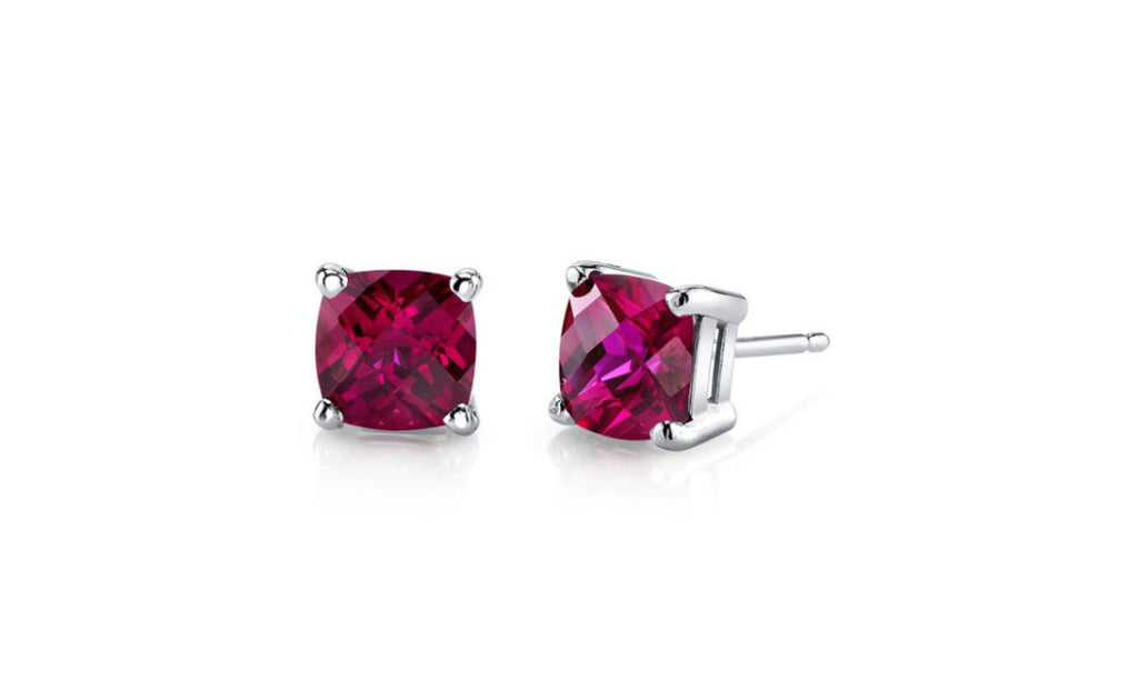 Platinum Over Sterling Silver Ruby Gemstone Earrings