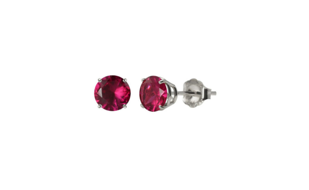 Platinum Over Sterling Silver Ruby Cz Earring