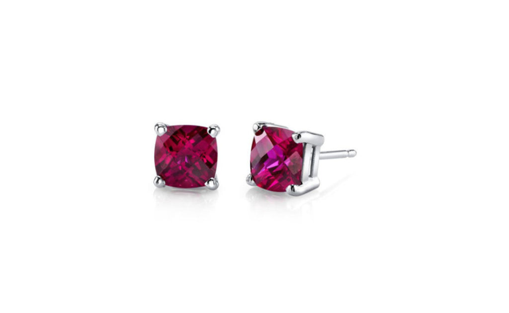 Heavy 10k White Gold Over Sterling Silver Cz Ruby Earrings
