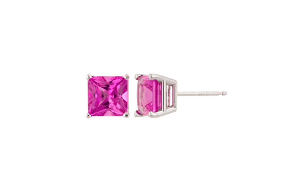 Platinum Over Sterling Silver Pink Tourmaline Gemstone Earrings