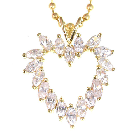 14k Gold Over Sterling Silver Open Heart Shaped Necklace Manmade Diamonds