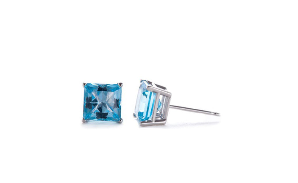 Platinum Over Sterling Silver Zircon Gemstone Earrings