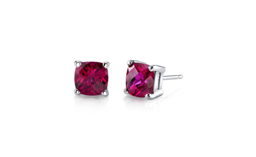 Platinum Over Sterling Silver Princess Cut Cz Ruby Earring