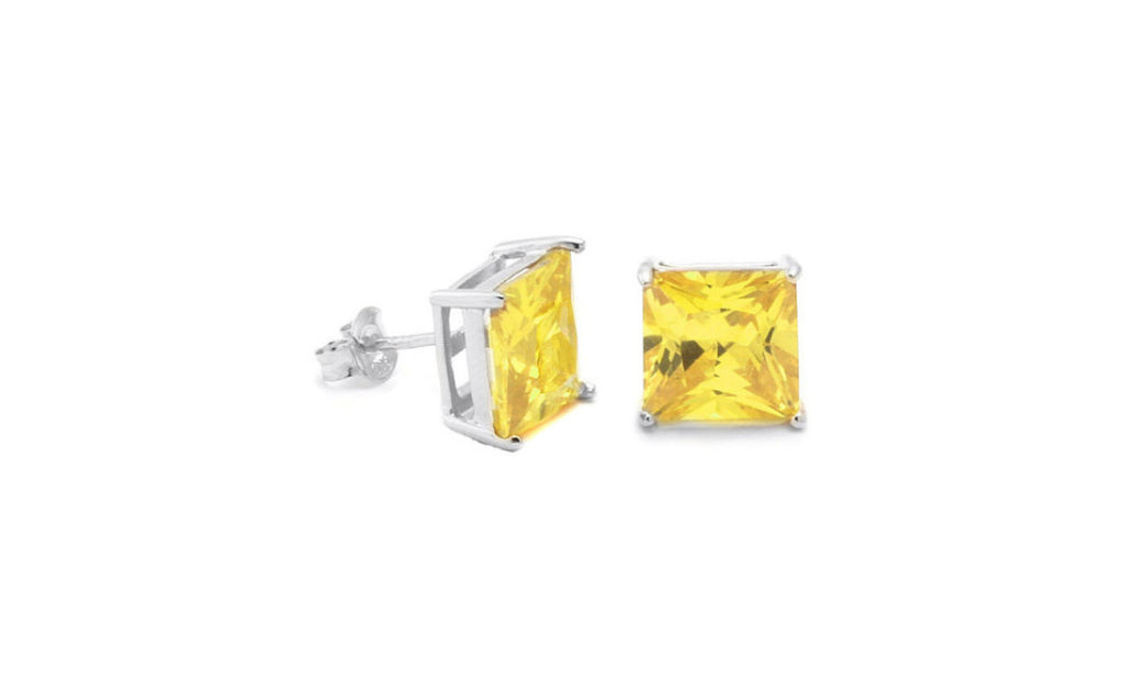 14K White Gold 1/4 Carat Genuine Rare Yellow Princess Diamond Sl1 Studs