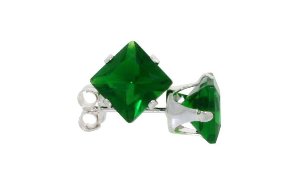 Sterling Silver 4ct Princess Cut Cz Emerald Earring