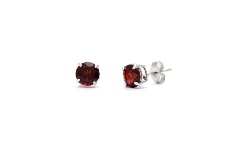 Heavy 10k White Gold Over Sterling Silver Garnet Cz Earrings
