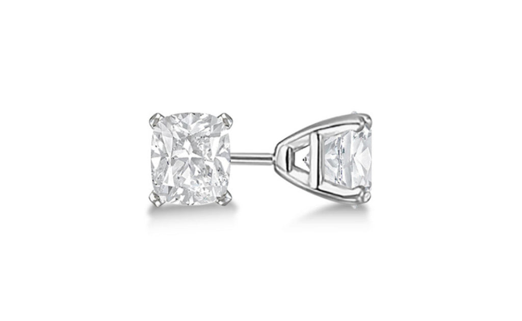 Sterling Silver 4ct White Princess Cut Cz Earrings