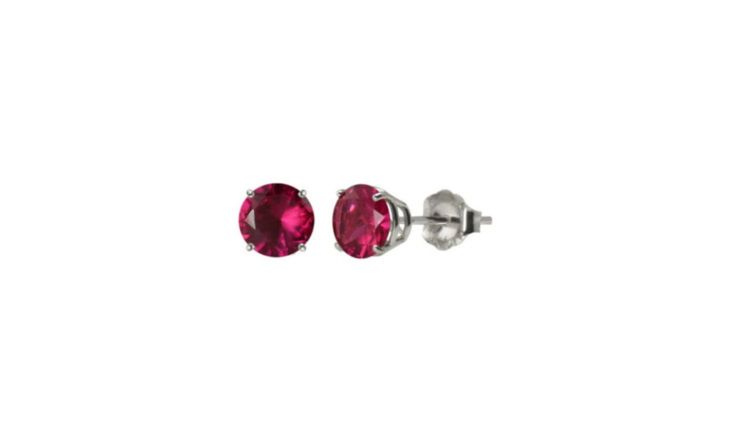 Heavy 10k White Gold Over Sterling Silver Ruby Cz Earring