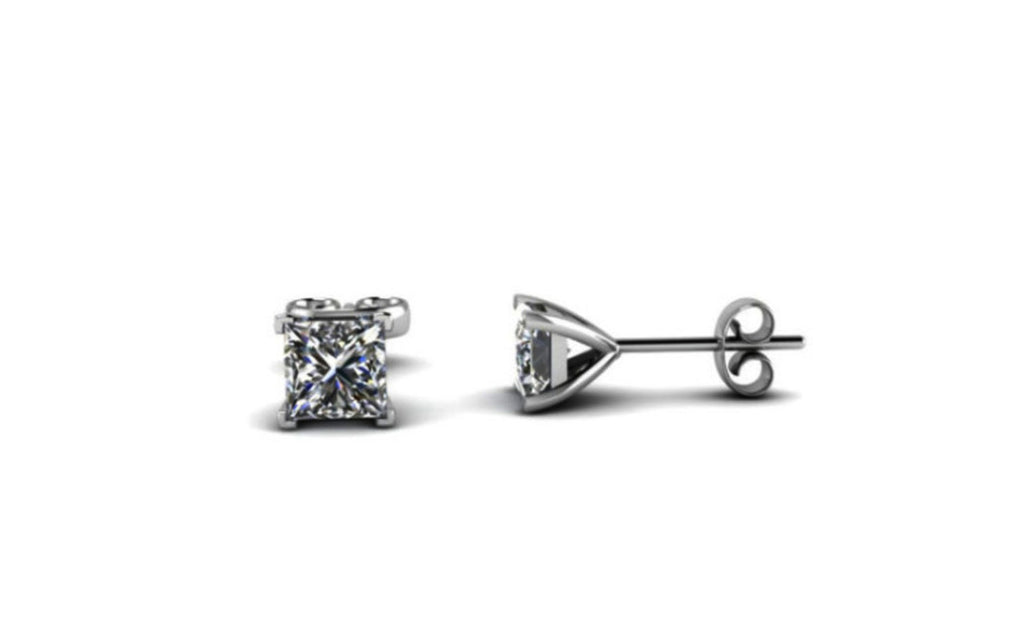14k White Gold Over Sterling Silver 1ct White Diamond Earrings