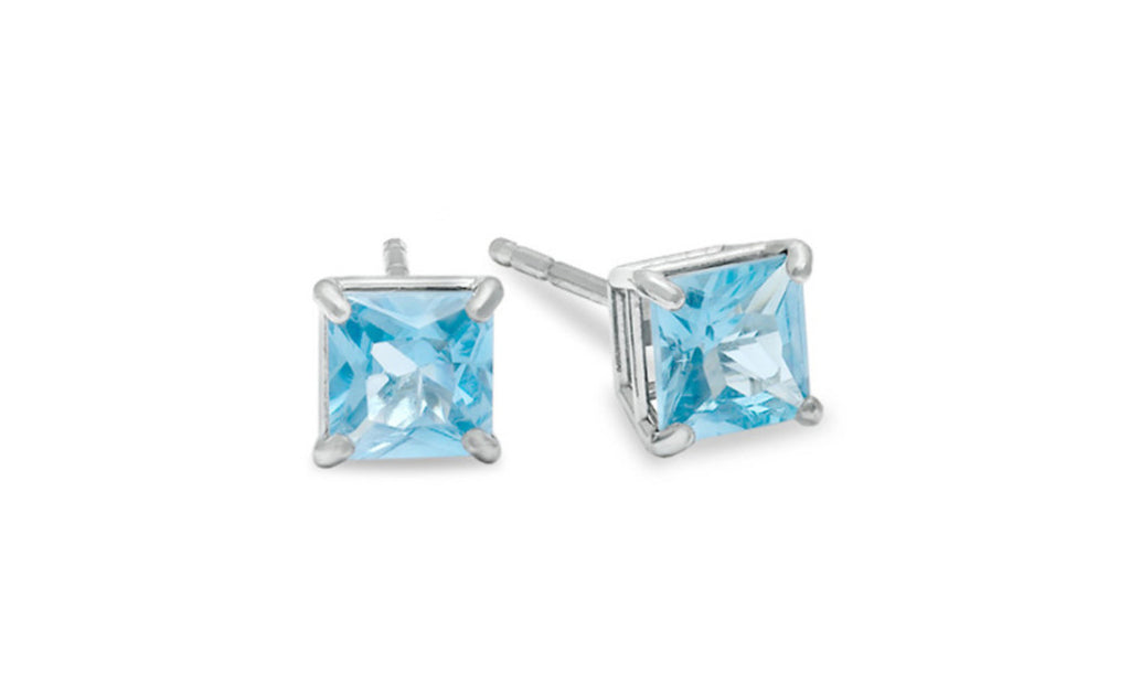 Platinum Over Sterling Silver 4ct Cz Aquamarine Earring