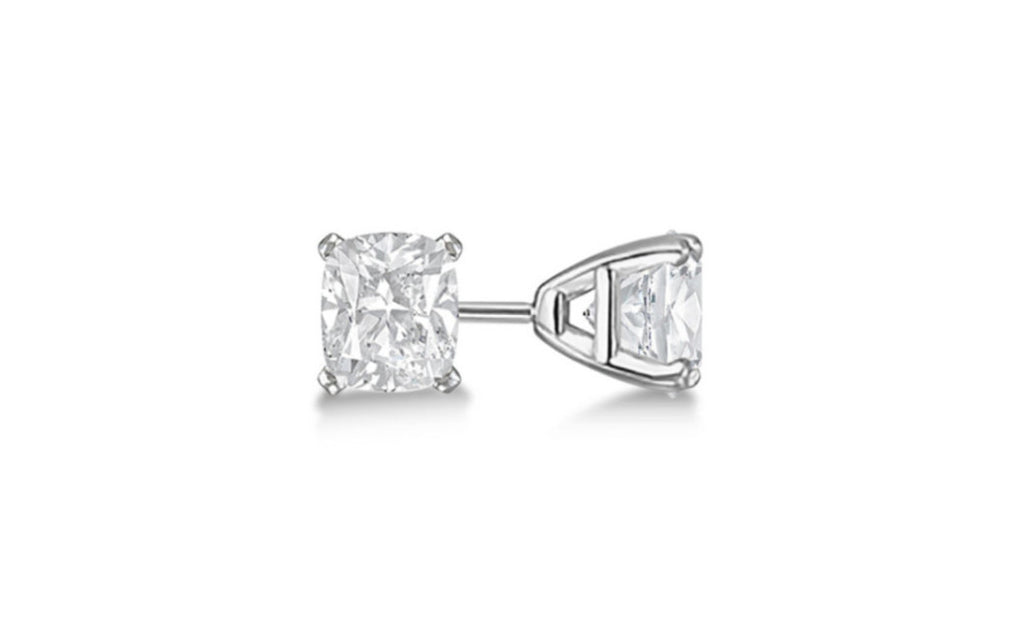 Heavy 10k White Gold Over Sterling Silver Cz Earring