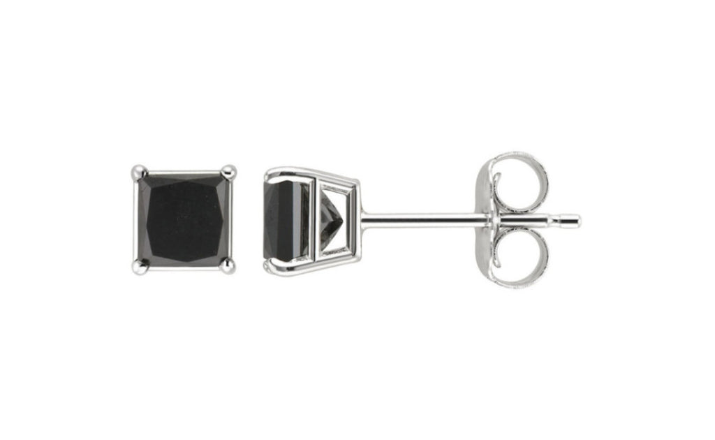 14k White Gold Over Sterling Silver 1ct Black Simulated Diamond Earrings