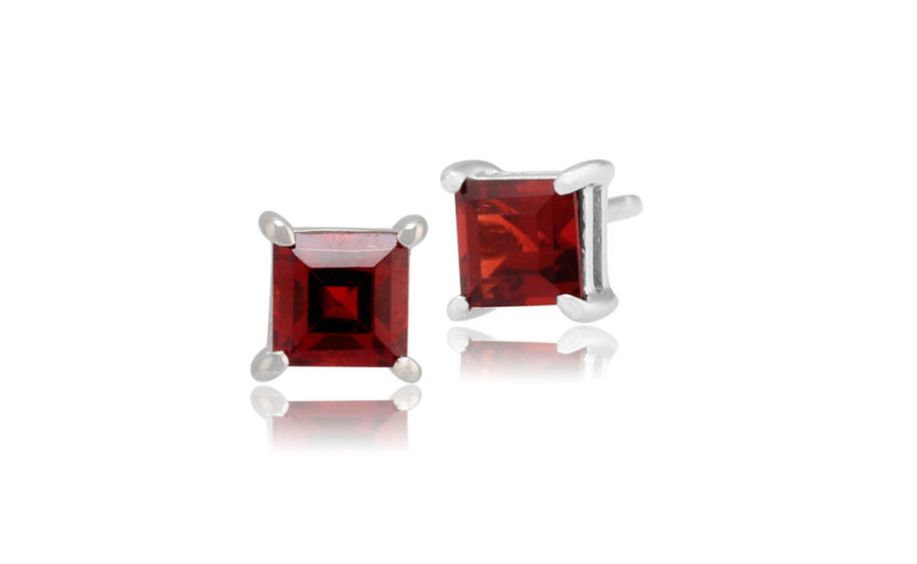 Sterling Silver 4ct Princess Cut Cz Garnet Earring
