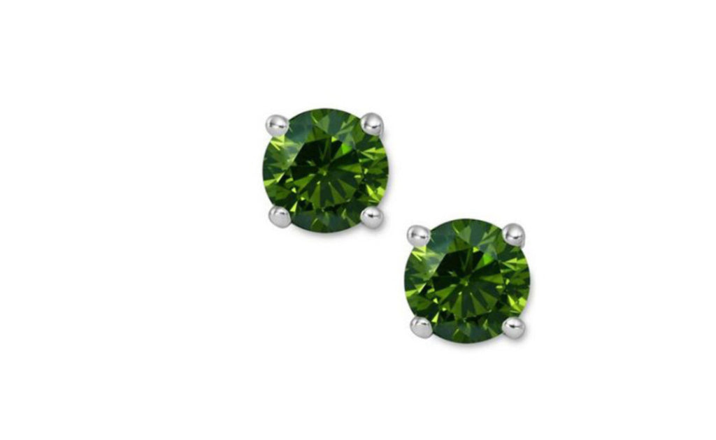 14K Green Genuine Diamond White Gold Earrings 1/4 CT Sl1