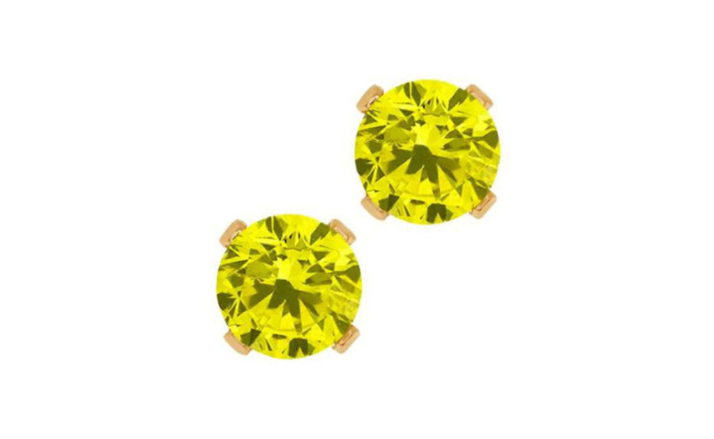 14K Yellow Gold Round Yellow Diamond 1/4ct Earrings Sl1