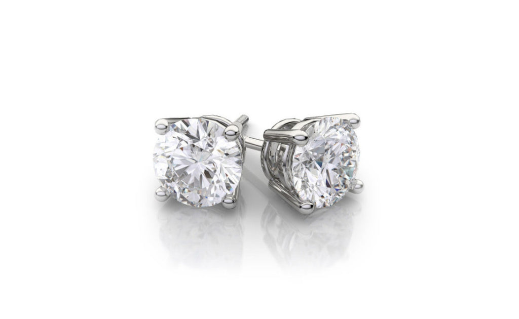 14K White Gold Round Cut 1/4 Carat Genuine Diamond Stud Sl1